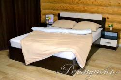 Купить бежево-белое трикотажное постельное белье