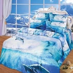 Купить постельное белье из сатина «На гребне волны»